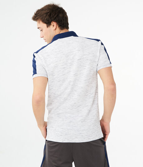 Colorblock Stripe Streaky Stretch Pique Polo