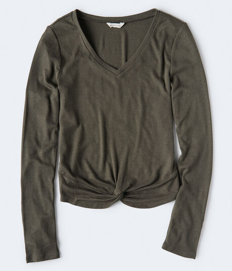 Long Sleeve Solid Twist-Front V-Neck Top