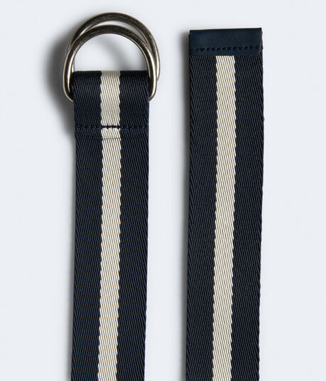 Striped Canvas D-Ring Belt