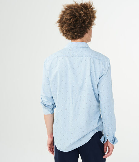Long Sleeve Floral Denim Woven Shirt