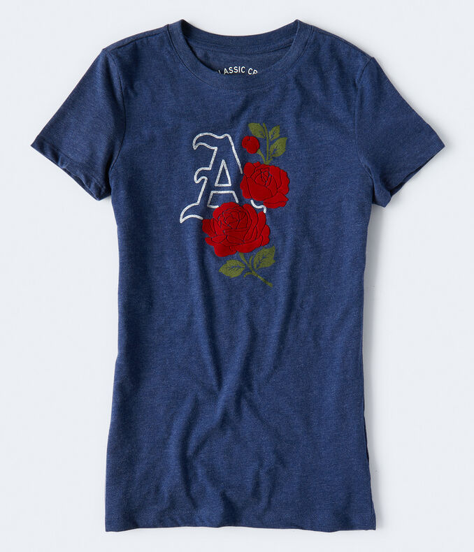 "Flocked Roses ""A"" Graphic Tee"