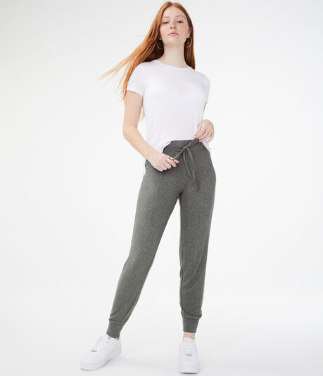 Side Stripe Fuzzy Jogger Sweatpants
