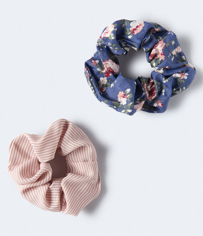 Floral & Stripe Scrunchie 2-Pack