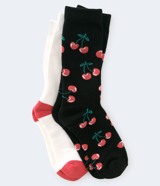 Cherry & Solid Crew Sock 2-Pack