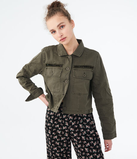 Solid Cropped Twill Jacket