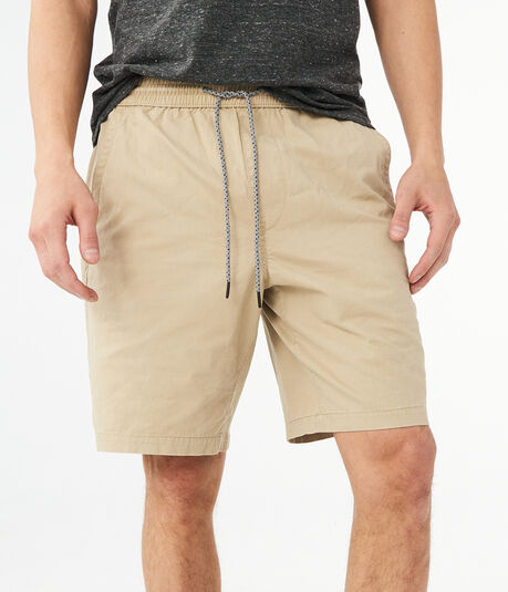 Solid Twill Jogger Shorts