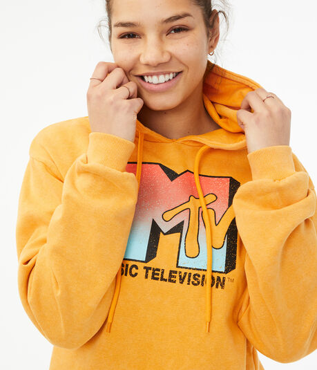MTV Cropped Pullover Hoodie