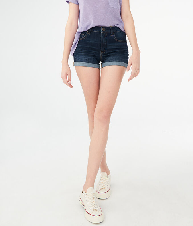 Flex Effects High-Waisted Dark Wash Cuffed Denim Midi Shorts