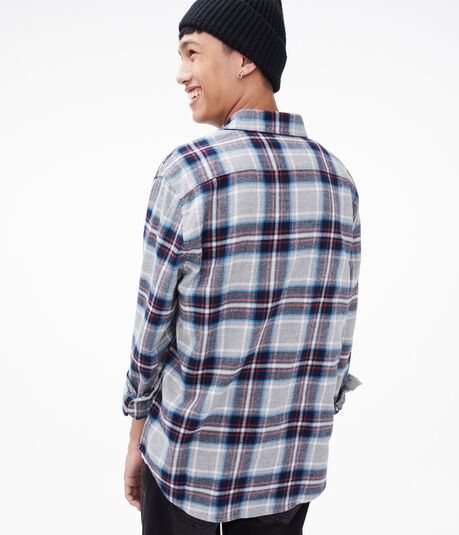 Long Sleeve Plaid Flannel Button-Down Shirt