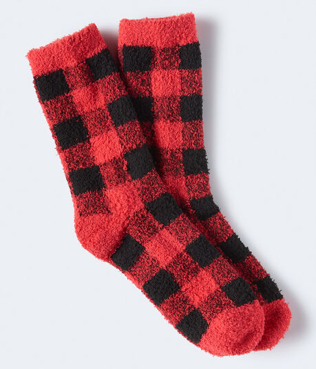 Buffalo Check Fuzzy Crew Socks***