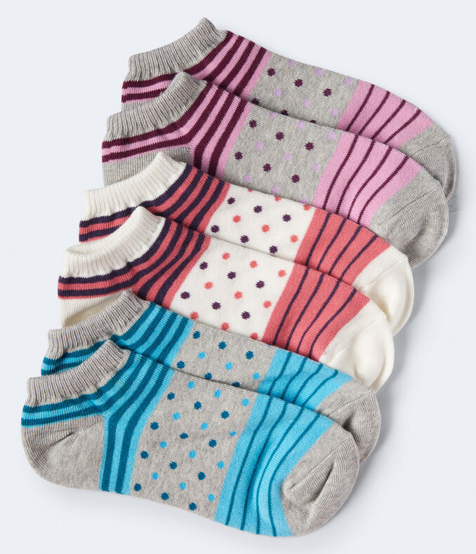 3-Pack Dot Stripe Mix Ankle Socks