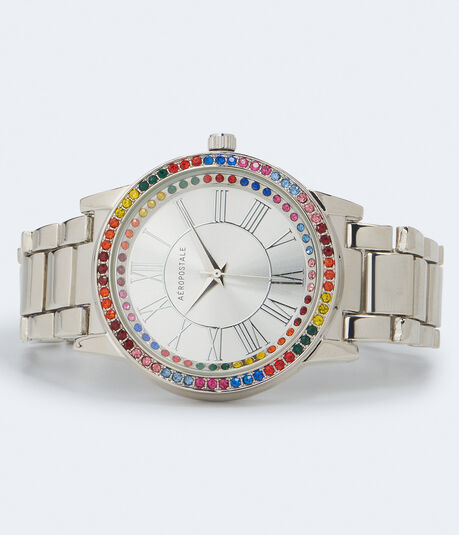 Metal Rainbow Rhinestone Bezel Analog Watch