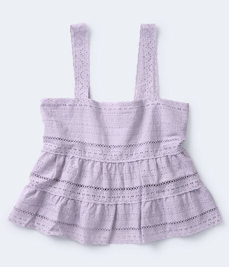 Eyelet Tiered Cropped Babydoll Top