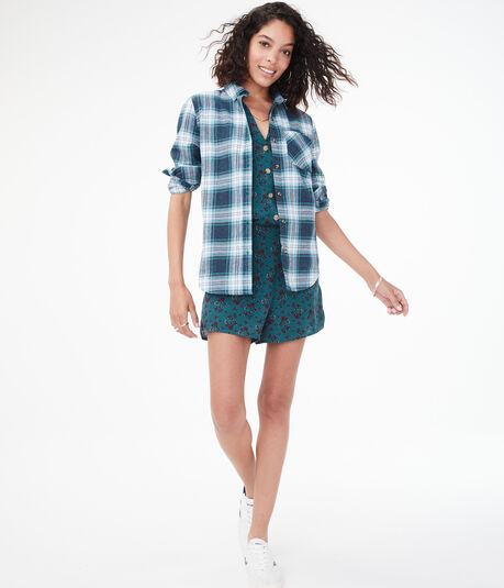 Long Sleeve Plaid Boyfriend Button-Down Shirt