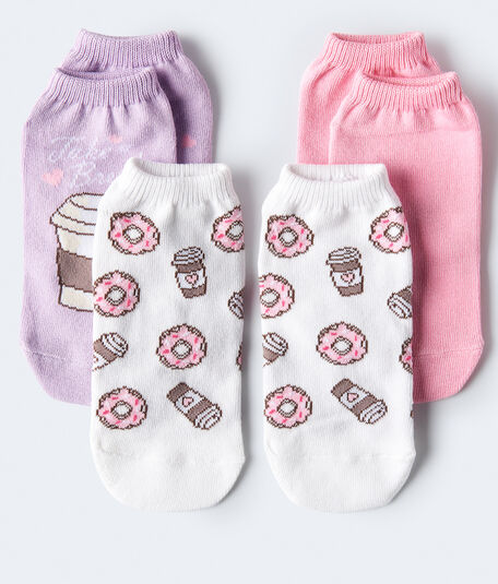 Donuts & Coffee Ankle Sock 3-Pack***