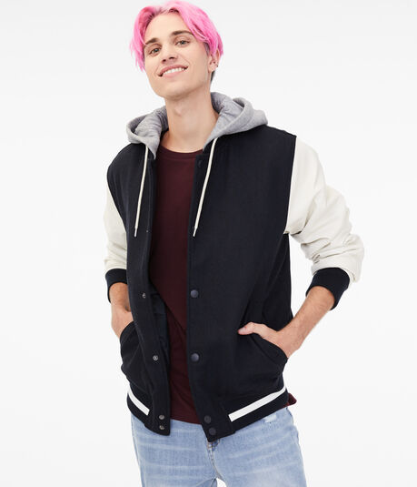 Hooded Varsity Bomber Jacket