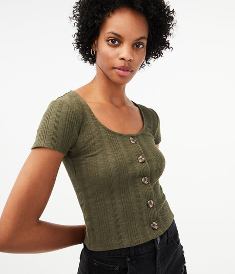 Seriously Soft Rib Button-Front Top