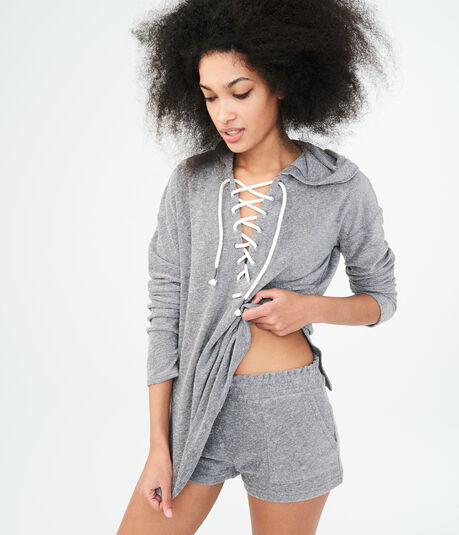 Long Sleeve French Terry Lace-Up Hooded Top