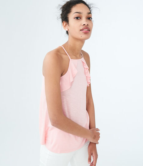 Solid High-Neck Ruffle Tank