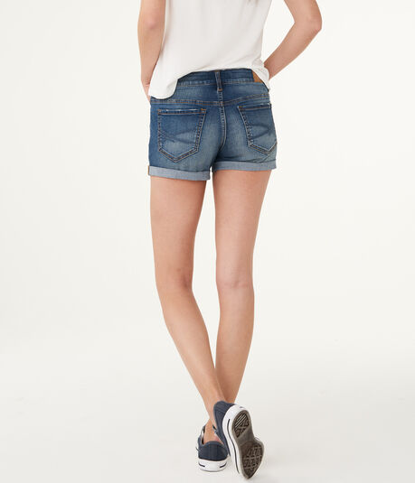 Medium Wash Destroyed Denim Midi Shorts