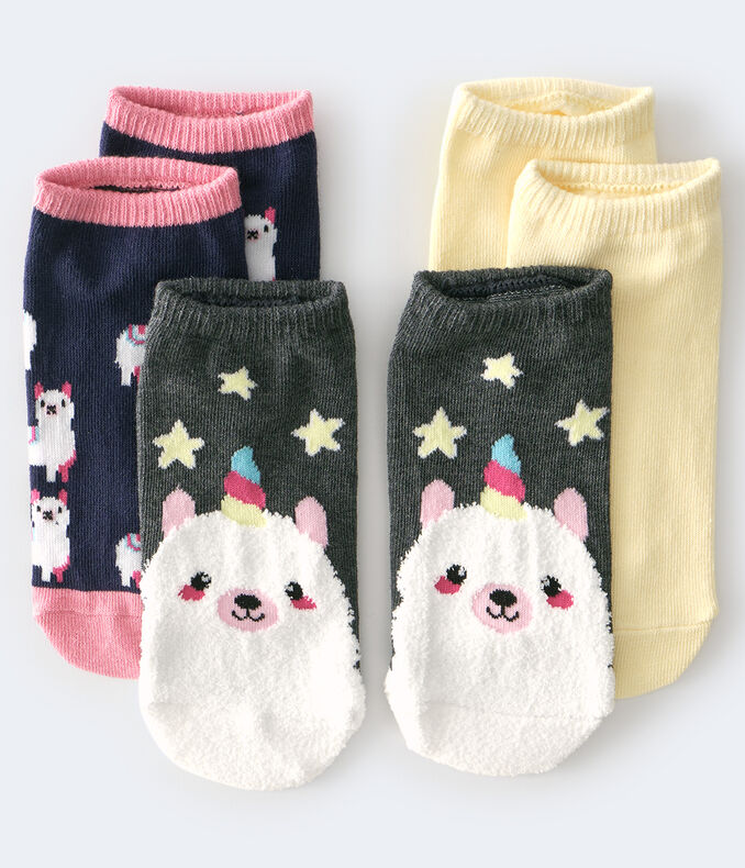 Fuzzy Uni Llama Ankle Sock 3-Pack