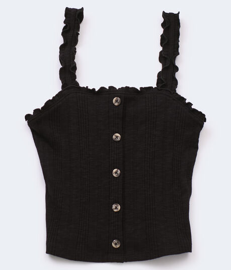 Ribbed Square-Neck Crop Top