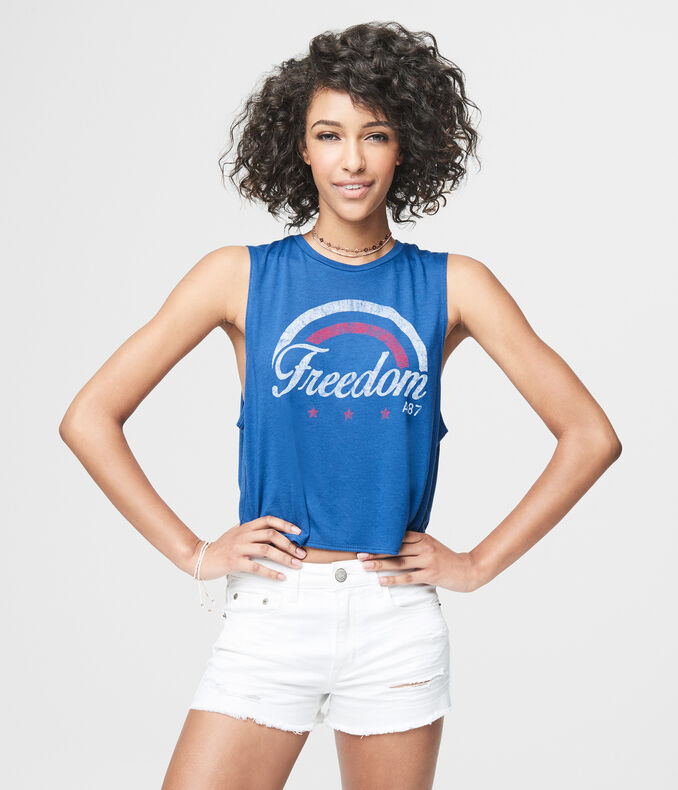 A87 Freedom Crop Muscle Tank