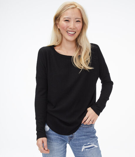 Long Sleeve Waffle-Knit Boat-Neck Top