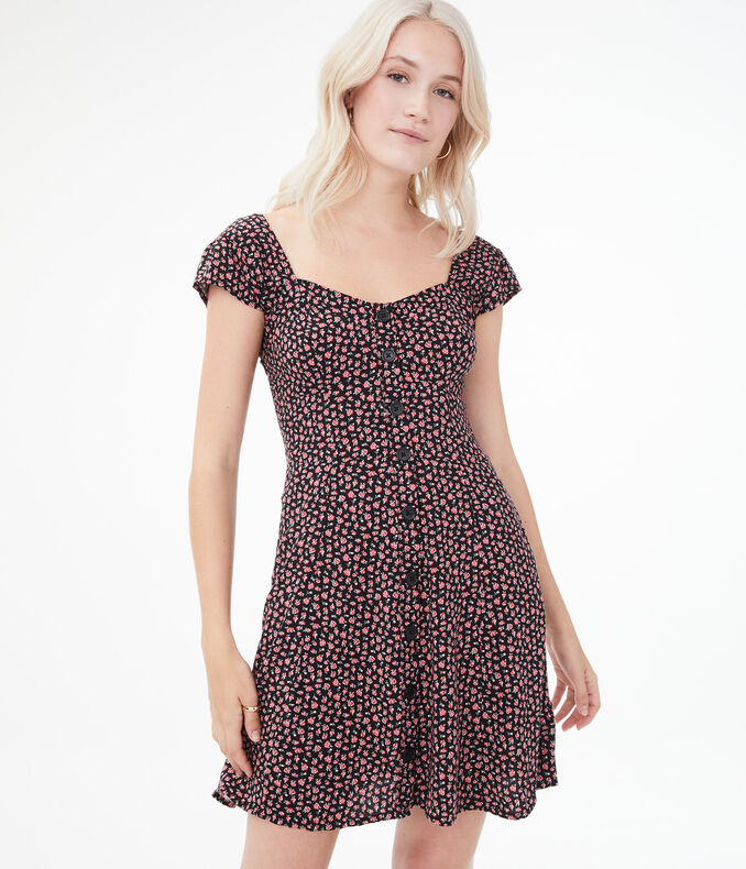 Printed Button-Front Fit & Flare Dress