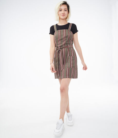 Striped Tie-Belt A-Line Dress