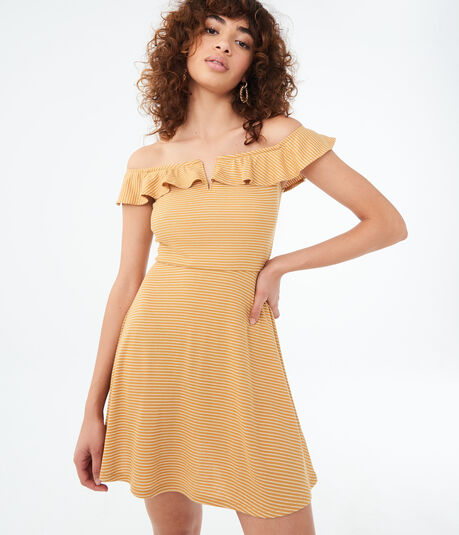 Striped Off-The-Shoulder V-Wire Fit & Flare Dress