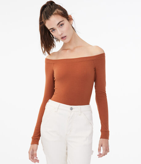 Long Sleeve Seriously Soft Off-The-Shoulder Bodycon Top***