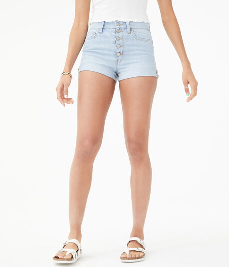 Real Denim High-Rise Exposed Button Mom Shorts