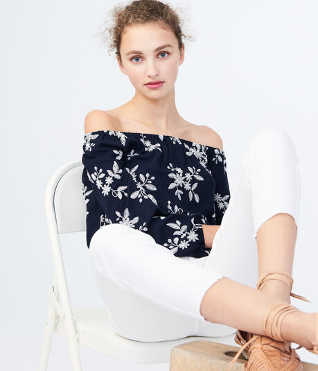 Long Sleeve Embroidered Off-The-Shoulder Top