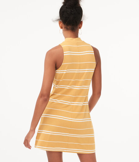 Seriously Soft Striped Mock-Neck Swing Dress