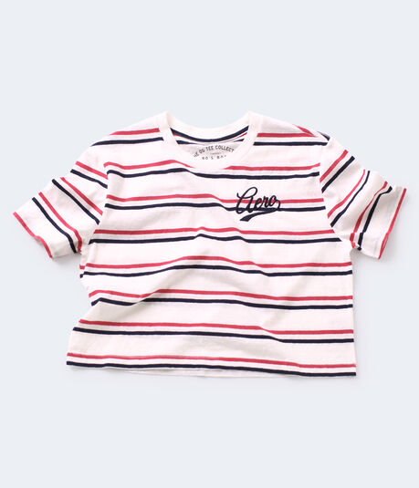 Americana Striped Cropped Boxy Tee