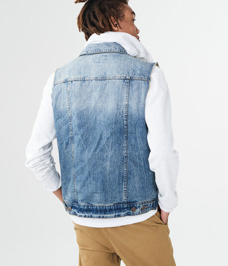 Medium Wash Denim Trucker Vest