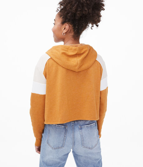 Colorblock Cropped Pullover Hoodie