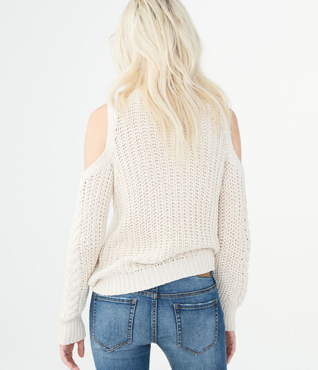 Solid Cable-Knit Cold-Shoulder Sweater