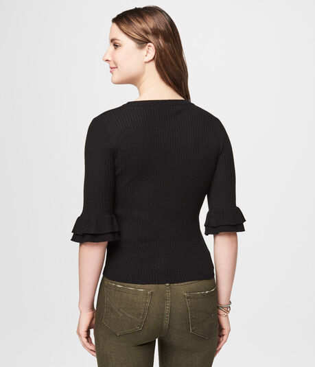 3/4 Bell Sleeve Ribbed Sweater