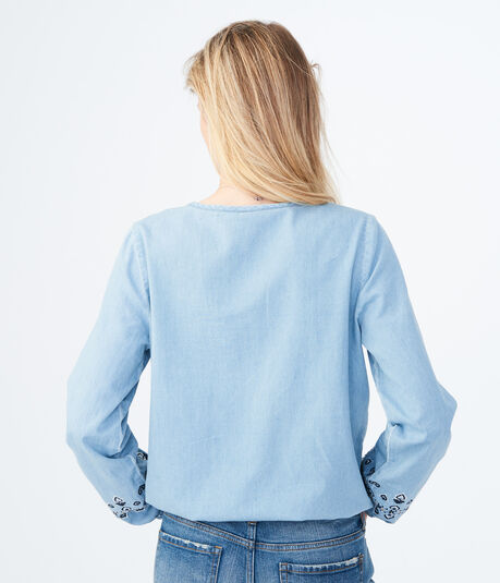 Long Sleeve Embroidered Chambray Top