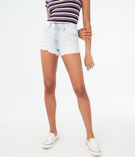 High-Rise Bleach Splatter Denim Shorty Shorts***