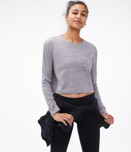 Long Sleeve Cropped Pocket Crew Tee
