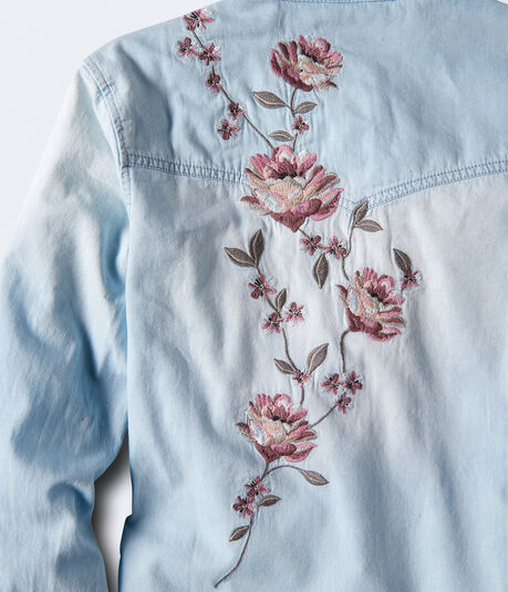 Long Sleeve Embroidered Floral Chambray Woven Shirt