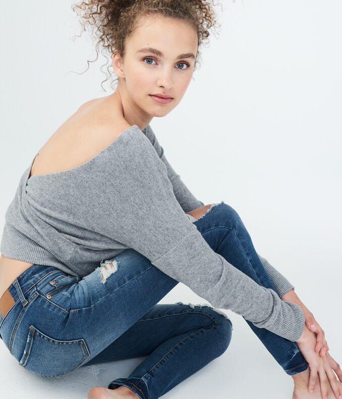 LLD Long Sleeve Seriously Soft Open-Back Top***