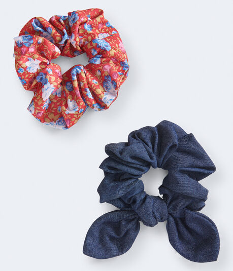Denim & Floral Scrunchie 2-Pack
