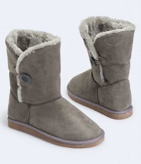 Faux Suede Button Boot