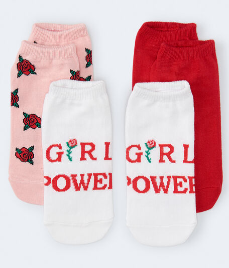 3-Pack Girl Power, Roses & Solid Ankle Socks