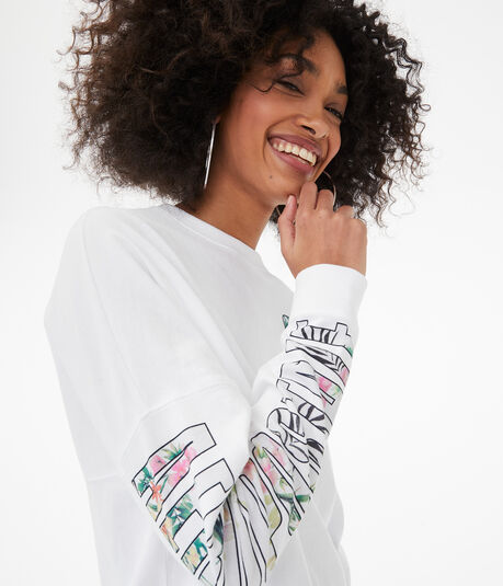 Long Sleeve Floral Aeropostale CA Oversized Graphic Tee