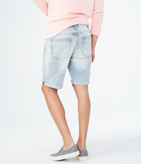 Bleached Wash Cuffed Stretch Denim Shorts